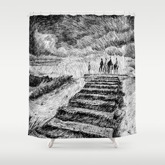 Drawing Black ink - Storm Shower Curtain