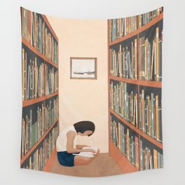 Getting Lost in a Book Wall Tapestry