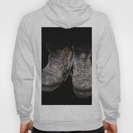 old shoes on black Hoody