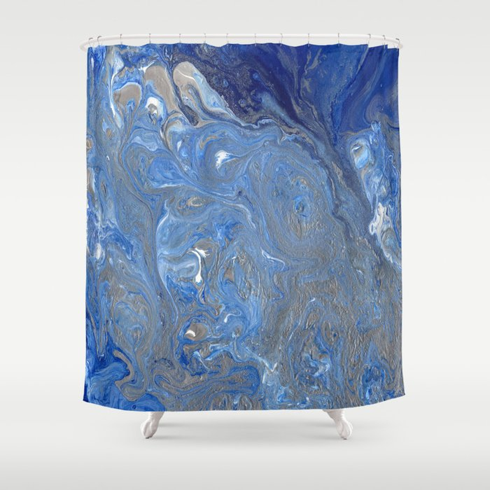 River of Silver Blues Shower Curtain