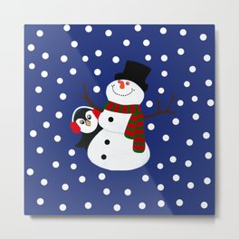 Cute Penguin Snowman Holiday Design Metal Print