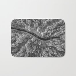 Snow pine forest Bath Mat