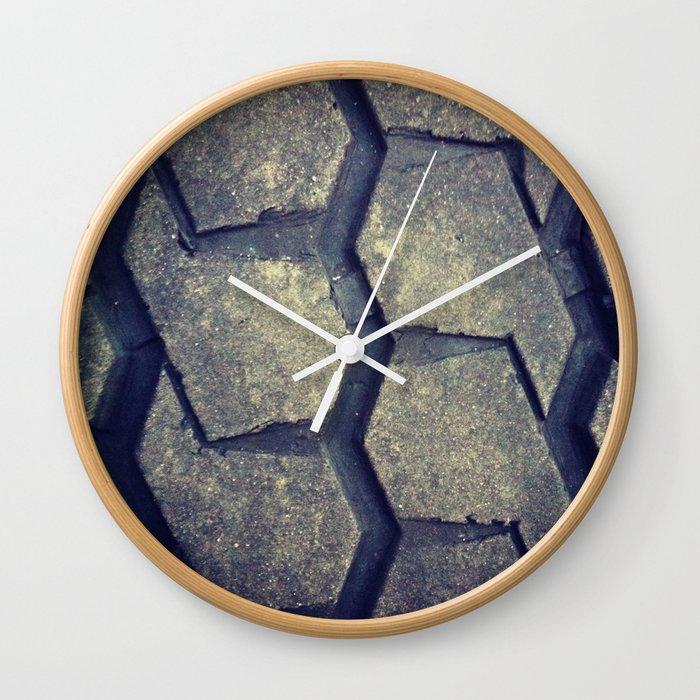 Big rig tire tread wall clock by adhgraphicdesign society6 - Tire tread wallpaper ...