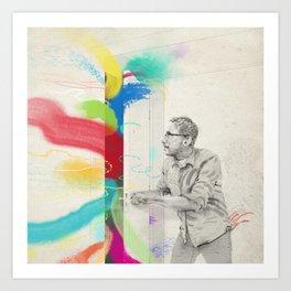 Breakthrough in grey room Art Print