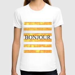 Bonjour Orange Stripe Bokeh T-shirt