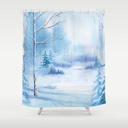 Winter Landscape Frozen Pond Shower Curtain