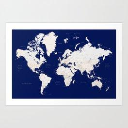 "Navy blue and light brown detailed world map ""Gavin"" Art Print"
