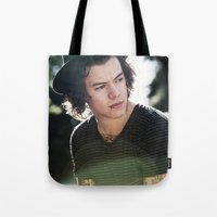 harry styles Tote Bags featuring Harry Styles  by Becca / But-Like-How