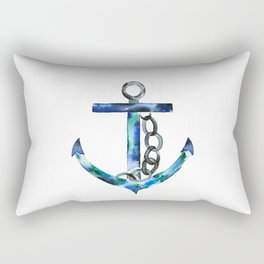 blue green anchor watercolor Rectangular Pillow
