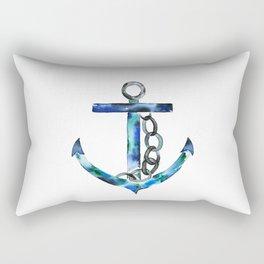 blue green anchor watercolor Rectangular Pillow