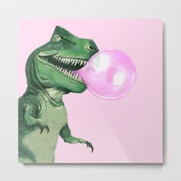 Bubble gum T-Rex in Pink Metal Print
