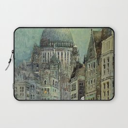 London's St Pauls and Ludgate Hill - Oil Painting, London, England Townscape by Godwin Bennett Laptop Sleeve