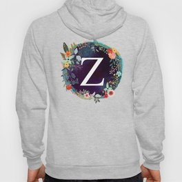 Personalized Monogram Initial Letter Z Floral Wreath Artwork Hoody