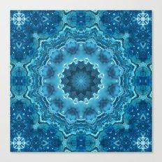 Blue mandala . Kaleidoscope . Winter . Canvas Print
