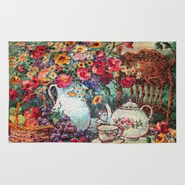 Vintage Tea Party Bouquet Rug