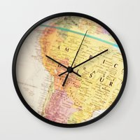 world maps Wall Clocks featuring Maps by Caroline Mint
