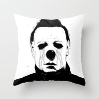 michael myers Throw Pillows featuring Myers, The Clown by Conrado Salinas