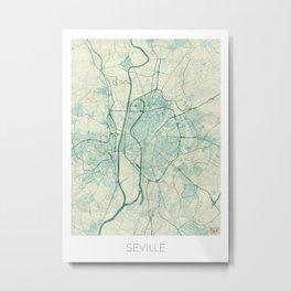 Seville Map Blue Vintage Metal Print