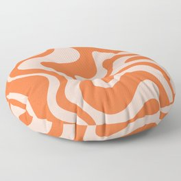 Retro Liquid Swirl Abstract Pattern in Orange and Pale Blush Pink Floor Pillow