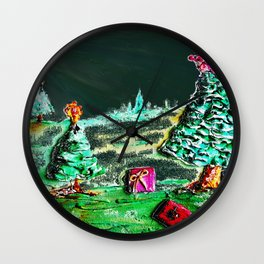 Nightime, Neon, Christmas Delight Wall Clock