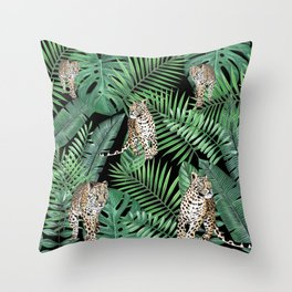 Leopards with tropical leaves pattern Throw Pillow