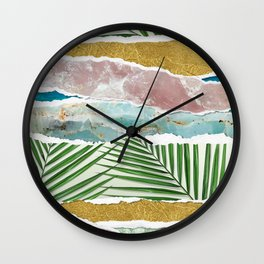 Nature's Collage I -Amethyst, Gold, Green Fans & Turquoise Seas Wall Clock