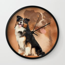 Black tricolor Australian Shepherd - Aussie Wall Clock