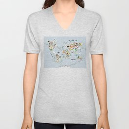 Cartoon animal world map for children and kids, Animals from all over the world, back to school Unisex V-Neck