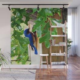 Bluebird at Nesting Box Wall Mural