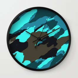 green blue and black painting abstract background Wall Clock