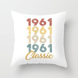 Vintage Retro Born In 1961 58th Birthday Gift Throw Pillow