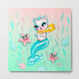 Tropical Merkitten with Lei and Starfish Metal Print