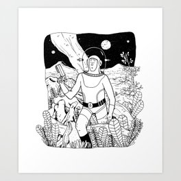 the space cowboy Art Print