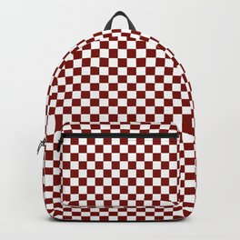 Vintage New England Shaker Barn Red and White Milk Paint Large Square Checker Pattern Backpack