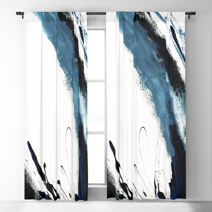 Reykjavik: a pretty and minimal mixed media piece in black, white, and blue Blackout Curtain