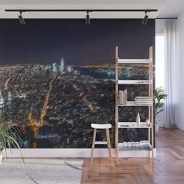 Midtown Manhattan and Freedom Tower Landscape Painting by Jeanpaul Ferro Wall Mural