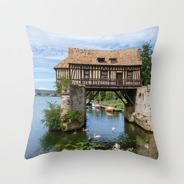 The Old mill on the Vernon broken bridge - Vernon, Normandy, France Throw Pillow