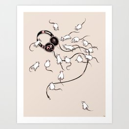 Mouses (beige background) Art Print