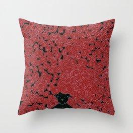 Rose Bed Throw Pillow