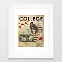 college Framed Art Prints featuring Welcome to... College by Heather Landis