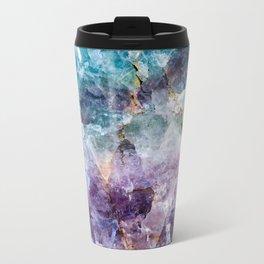 Turquoise & Purple Quartz Crystal Metal Travel Mug