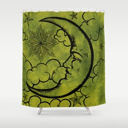 Moon vintage green black Shower Curtain
