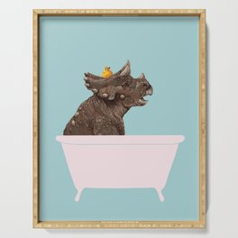 Playful Triceratop in Bathtub Serving Tray
