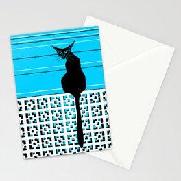 black cat on blue Stationery Cards