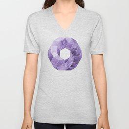 Watercolor Purple Impossible Polyhedron  Unisex V-Neck