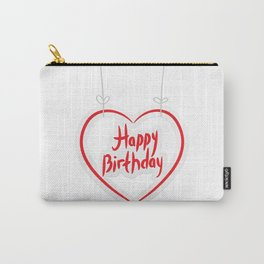 Happy birthday. red paper heart on White background. Carry-All Pouch