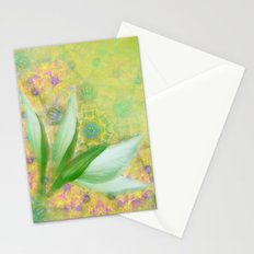 Bauhinia buds against textured green background Stationery Cards