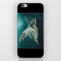 """biology iPhone & iPod Skins featuring """"Moonlit"""" - Green Sea Turtle, Acrylic by Amber Marine"""