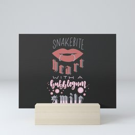 snakebite heart with a bubblegum smile (all time low lyric art) Mini Art Print