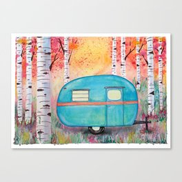 Vintage Camper Beach Towel Among the Birch Canvas Print